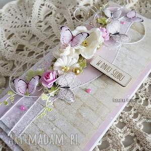 scrapbooking kartki kartka ślubna z motylkami