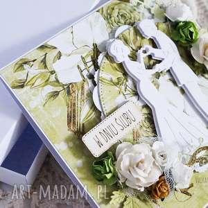 zielone scrapbooking kartki ślub kartka ślubna w pudełku, 449