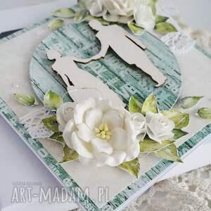 turkusowe scrapbooking kartki ślub kartka ślubna, 466