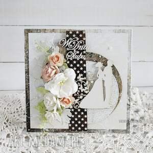 brązowe scrapbooking kartki wesele kartka ślubna w pudełku