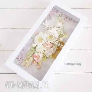 beżowe scrapbooking kartki wesele kartka ślubna w pudełku, 603