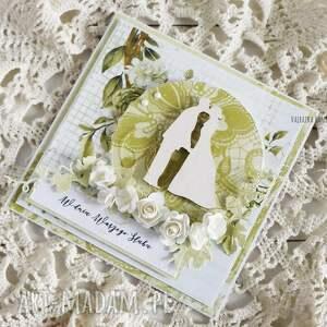 złote scrapbooking kartki wesele kartka ślubna, 530