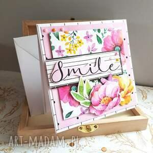 różowe scrapbooking kartki kwiaty kartka smile