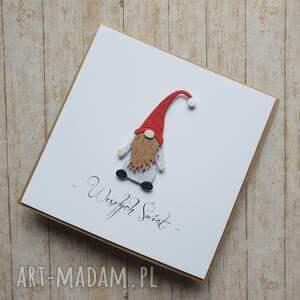 święta upominek krasnal kartka świąteczna - stylowa