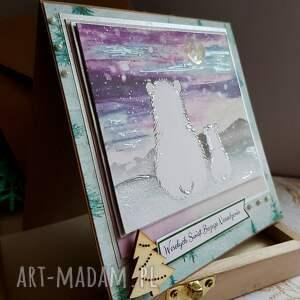 świąteczne prezenty fioletowe kartka misie