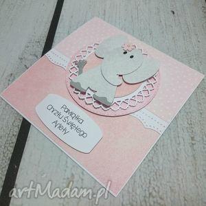 białe scrapbooking kartki pamiątka kartka szczęście od słonika