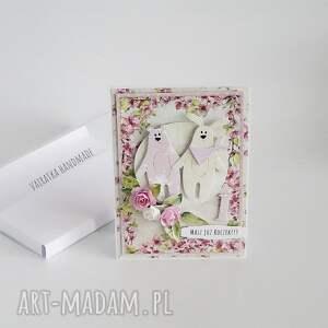 kartka scrapbooking kartki różowe urodzinowa z misiami, 463
