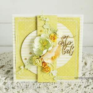 żółte scrapbooking kartki kartka urodzinowa w pudełku,