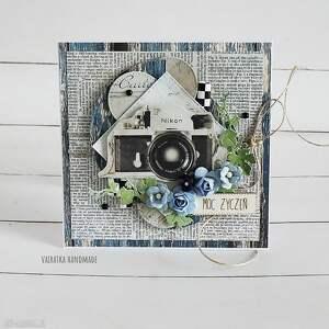 ręcznie robione scrapbooking kartki kartka urodzinowa z aparatem foto