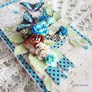 scrapbooking kartki turkusowe kartka urodzinowa/imieninowa, 542