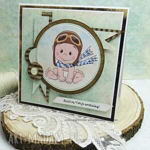 scrapbooking kartki brązowe kartka urodzinowa dla maluszka