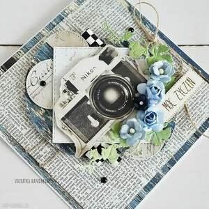 kartka scrapbooking kartki czarne urodzinowa z aparatem foto