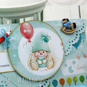 turkusowe scrapbooking kartki urodziny kartka urodzinowa dla chłopca