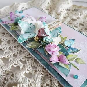 turkusowe scrapbooking kartki kartka urodzinowa z motylami, 489