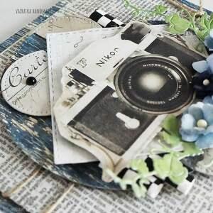 niebieskie scrapbooking kartki kartka urodzinowa z aparatem foto