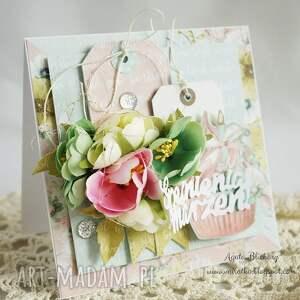 różowe scrapbooking kartki kartka urodzinowa z babeczką (w