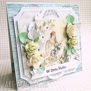 ślub scrapbooking kartki różowe kartka w pudełku dniu ślubu