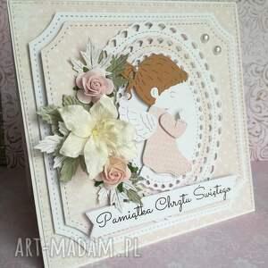 beżowe scrapbooking kartki uroczystość kartka w pudełku chrzest święty