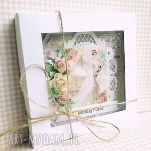 ślub scrapbooking kartki zielone kartka w pudełku w dniu