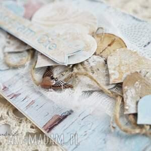 beżowe scrapbooking kartki kartka walentynkowa z sercami - w