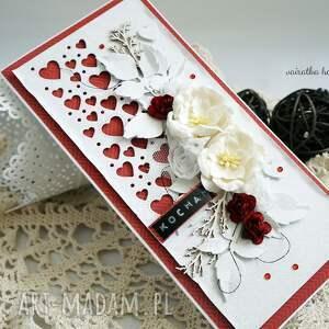 czerwone scrapbooking kartki walentynki kartka walentynkowa z sercami