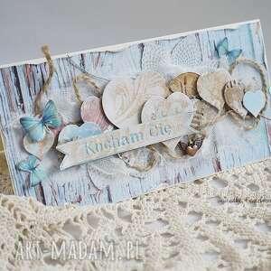 oryginalne scrapbooking kartki kartka walentynkowa z sercami - w