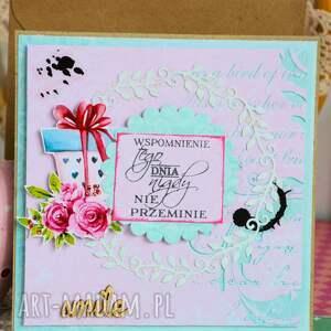 kartka scrapbooking kartki różowe - wspomnienie tego dnia