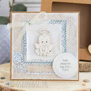scrapbooking kartki: Kartka z Aniołkiem Stróżem. Narodziny, Chrzest, Roczek, Urodziny