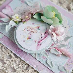 eleganckie scrapbooking kartki kartka-urodzinowa kartka z jednorożcem