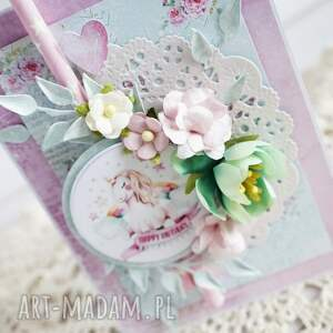 turkusowe scrapbooking kartki jednorożec kartka z jednorożcem