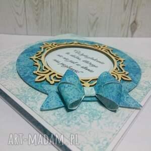 niebieskie scrapbooking kartki kartka z kokardą dlabelfra