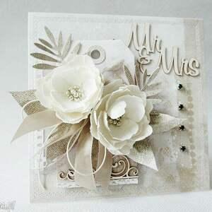 białe scrapbooking kartki ślub kartka z kwiatami - w pudełku