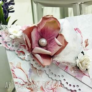 kartka scrapbooking kartki z okazji ślubu - różana