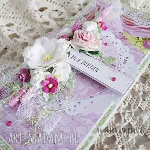 ręcznie zrobione scrapbooking kartki imieniny kartka z okazji imienin, w pudełku