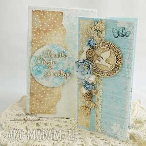 turkusowe scrapbooking kartki chrzest kartka z okazji chrztu