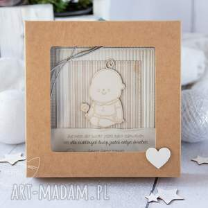 beżowe scrapbooking kartki kartka z okazji narodzin, chrztu