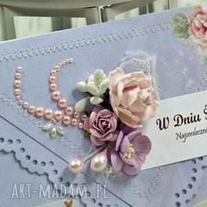 fioletowe scrapbooking kartki ślubna kartka z okazji ślubu - liliowe
