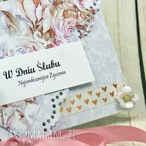 różowe scrapbooking kartki ślub kartka z okazji ślubu - różana