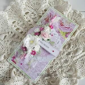 różowe scrapbooking kartki imieniny kartka z okazji imienin, w pudełku