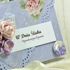 wesele scrapbooking kartki kartka z okazji ślubu - liliowe