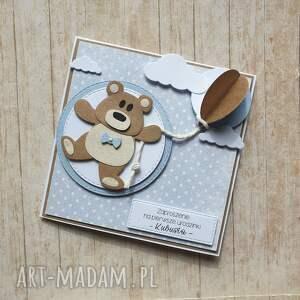 białe scrapbooking kartki chrzest kartka / zaproszenie - misiak z