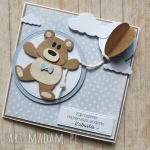 urodziny scrapbooking kartki niebieskie kartka / zaproszenie - misiak z