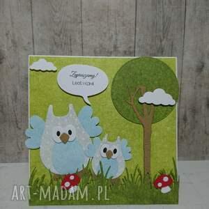 scrapbooking kartki urodziny kartka/zaproszenie sowki w lesie