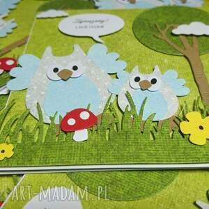 urodziny scrapbooking kartki kartka/zaproszenie sowki w lesie