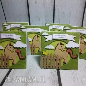 zielone scrapbooking kartki konik kartka/zaproszenie dla miłośnika