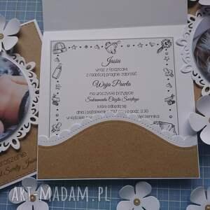 chrzest scrapbooking kartki kartka/zaproszenie eko ze zdjęciem