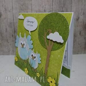 niebieskie scrapbooking kartki las kartka/zaproszenie sowki w lesie