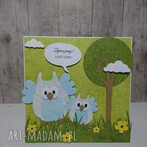 ręczne wykonanie scrapbooking kartki urodziny kartka/zaproszenie sowki w lesie