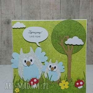 sówka scrapbooking kartki zielone kartka/zaproszenie sowki w lesie