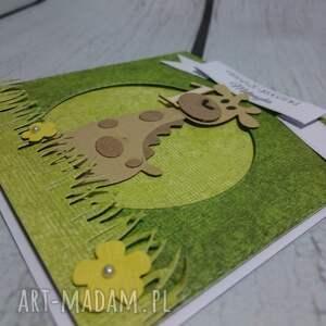 beżowe scrapbooking kartki chrzest kartka/zaproszenie żyrafka na